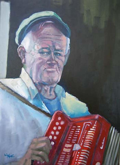 Inis Mor Accordian Player Painting by Kevin McKrell