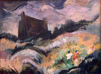 Landscape Painting - Initial Composition by Arindam Dasgupta