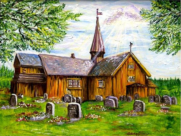 Norway Painting - Innset Kirke -- Norway by Carol Allen Anfinsen