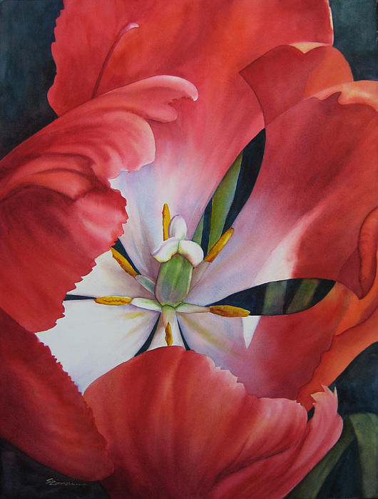 Tulip Painting - Inside A Tulip by Sue Zimmermann