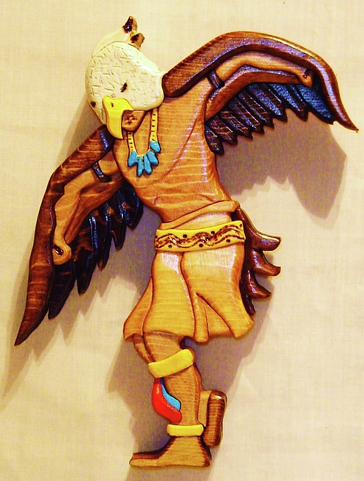 Intarsia Sculpture - Intarsia Eagle Dancer by Russell Ellingsworth