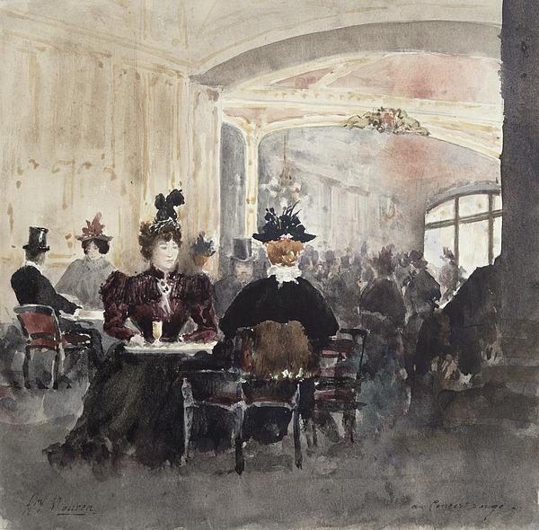 Interior Painting - Interior Of The Concert Rouge by Henri Laurent Mouren