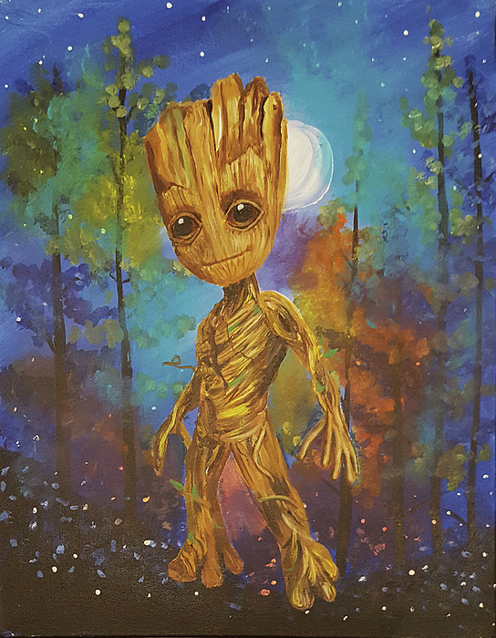Volume 2 Painting - Into The Eyes Of Baby Groot by Nicole Burnett