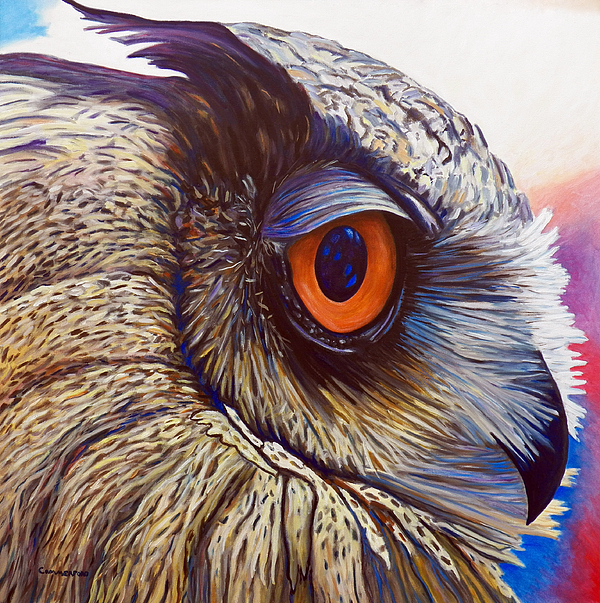 Owl Painting - Introspection by Brian  Commerford