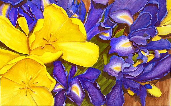 Watercolor Painting - Iris Withtulip by Robert Thomaston