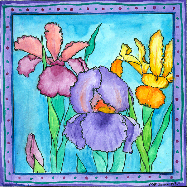 Iris Painting - Irises by Pamela  Corwin