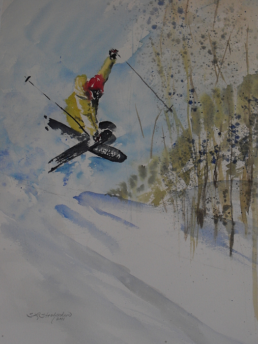 Skiing Painting - Iron Cross At Beaver Creek by Sandra Strohschein