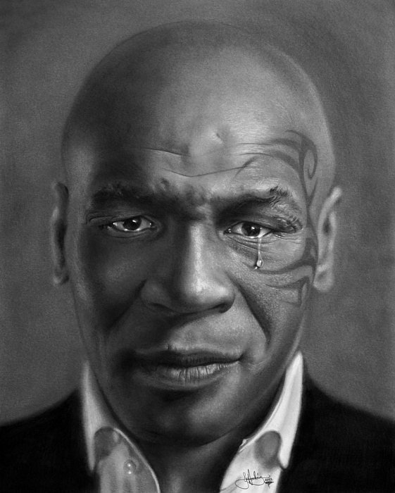 Mike Drawing - Iron Mike Tyson Drawing by John Harding