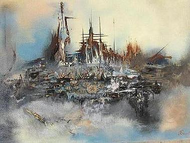 Abstract Painting - Island Of Lost Ships by Olga Dmytrenko
