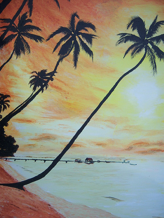 Sunset Painting - Island Sunset by Ken Day