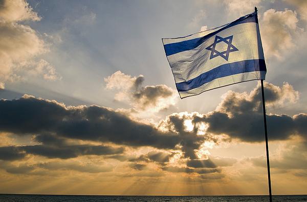 Israeli Flag Photograph - Israeli Flag And Sunset by Daniel Blatt