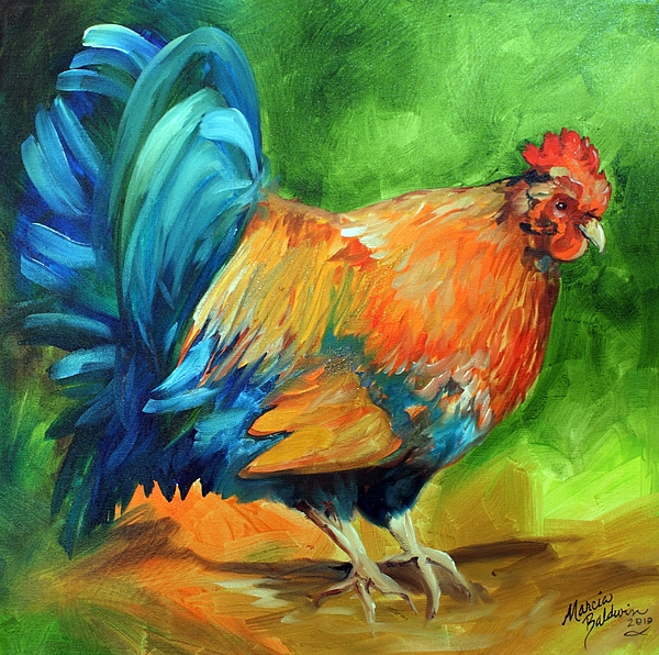 Rooster Painting - It Is Morning Time  by Marcia Baldwin