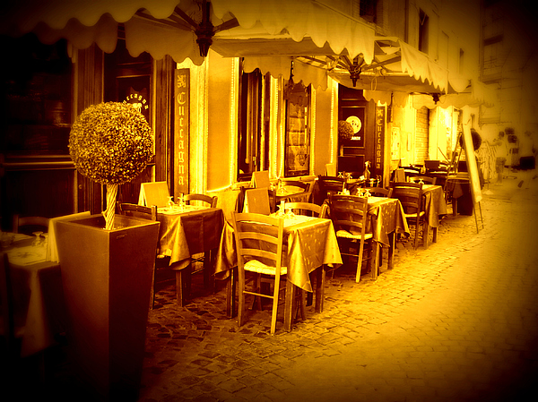 Italy Photograph - Italian Cafe In Golden Sepia by Carol Groenen