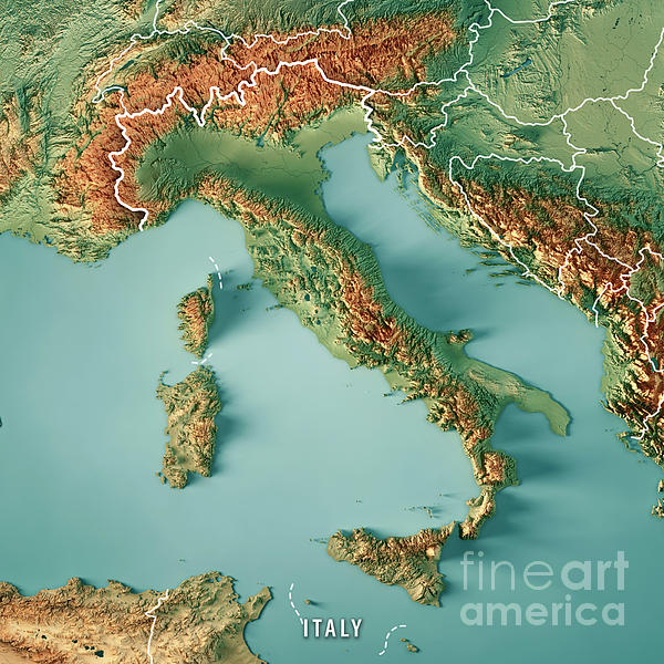 Italy Country 3d Render Topographic Map Border Digital Art By: Italy Topographic Map At Slyspyder.com