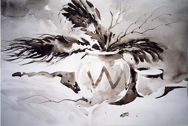Ivory Black Navajo Painting by John Byram