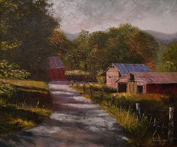 Landscape Painting - Ivy Log Barns by Pat Aube Gray