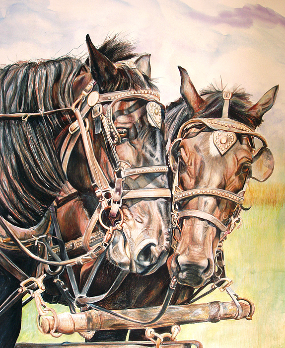 Black Painting - Jack And Joe Hard Workin Horses by Toni Grote