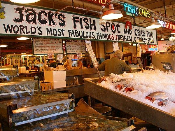 Landscape Photograph - Jacks Fish Spot And Crab Pot-seattle Pike Place Market by Candace Garcia