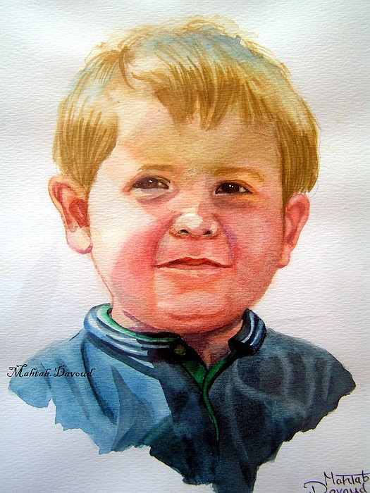 Watercolor Portrait Painting - Jackson by Mahtab Davoud