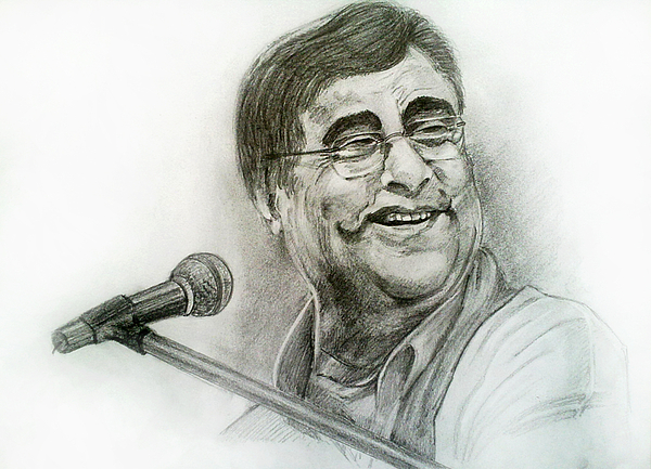 Jagjit Singh Pencil Sketch Painting - Jagjit Singh by Mayur Sharma
