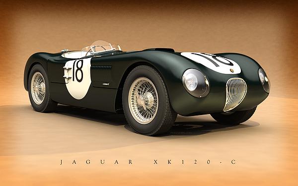 24 Hours Of Le Mans Digital Art - Jaguar Xk120-c by Pete Chadwell