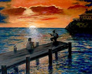 Sunset Painting - Jamaica Sunset by Romeo Downer