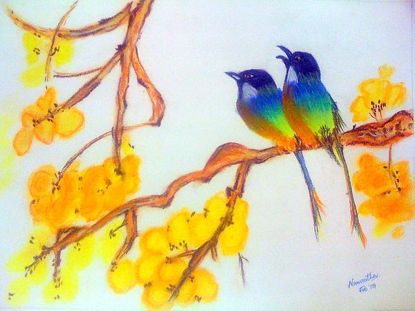 Pastel Colors Drawing - Japanese Birds by Smitha Kamath