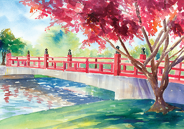 Red Painting - Japanese Bridge by Denise Schiber