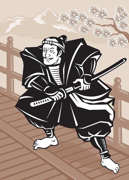 Samurai Digital Art - Japanese Samurai Warrior Sword On Bridge by Aloysius Patrimonio