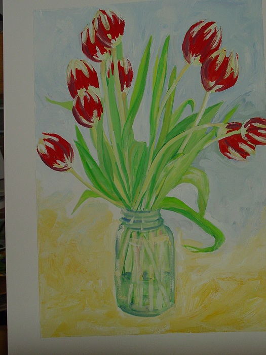 Red Tulips Painting - Jar Of Red Tulips by Marianne Neill