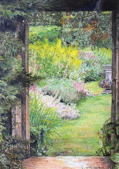 Landscape Drawing - Jardin by Muriel Dolemieux