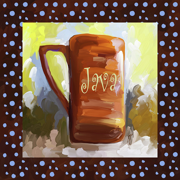 Coffee Painting - Java Coffee Cup With Blue Dots by Jai Johnson