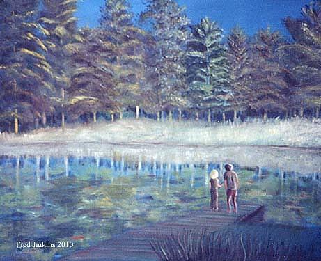 Woodland Lake Painting - Jays Lake by Fred Jinkins