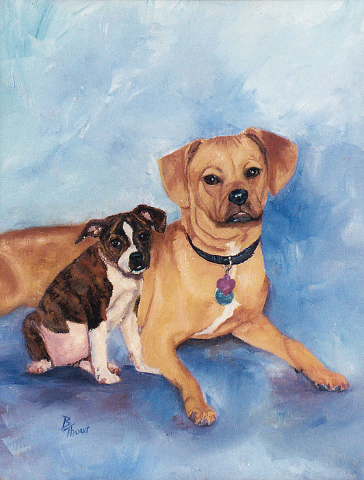 Pet Portrait Painting - Jaz And Lily by Brenda Thour