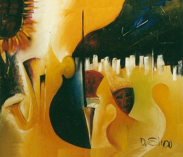 Modern Painting - Jazmask by David Simon