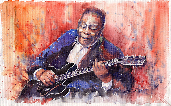 Jazz Painting - Jazz B B King 06 A by Yuriy  Shevchuk