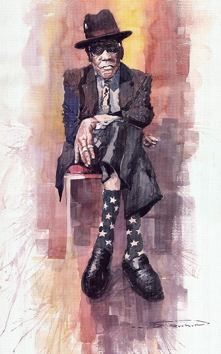 Watercolour Painting - Jazz Bluesman John Lee Hooker by Yuriy  Shevchuk