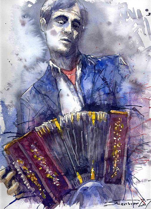 Jazz Painting - Jazz Concertina Player by Yuriy  Shevchuk