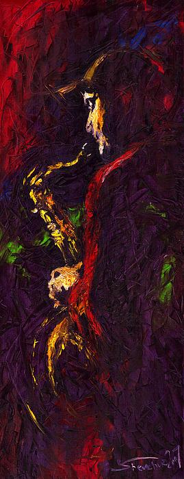 Jazz Painting - Jazz Red Saxophonist by Yuriy  Shevchuk