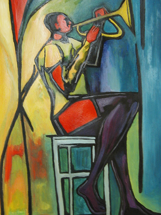Abstract Painting - Jazz Trumpet Player by Angelo Thomas