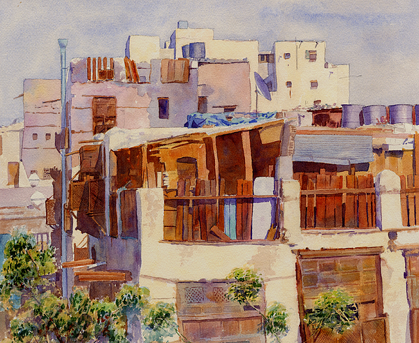 Jeddah Painting Painting - Jeddah Rooftops by Dorothy Boyer
