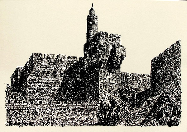 Jerusalem  II  Davids Tower Drawing by Edgard Loepert