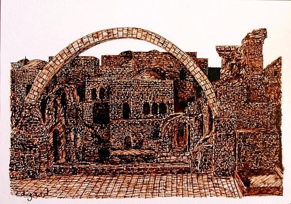 Jerusalem IIi Drawing by Edgard Loepert