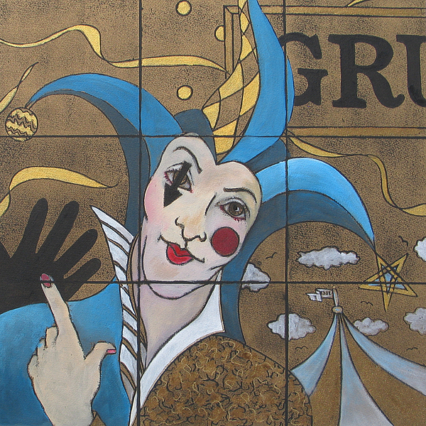 Circus Painting - Jester In Blue by Susanne Clark