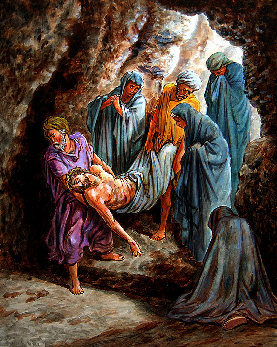Jesus Burial Painting by John Lautermilch