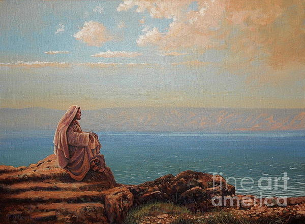 Jesus Painting - Jesus By The Sea by Michael Nowak