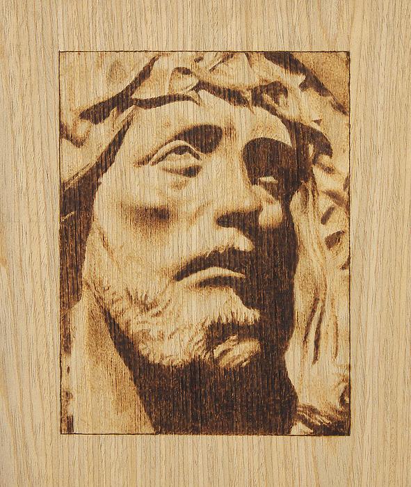 Jesus Pyrography - Jesus Christ by Conrad  Pinto