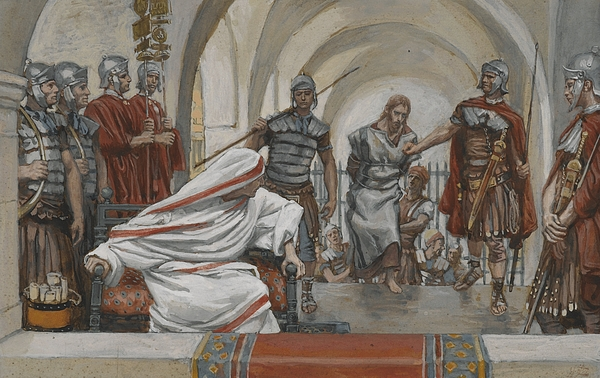 Tissot Painting - Jesus Led From Herod To Pilate by Tissot