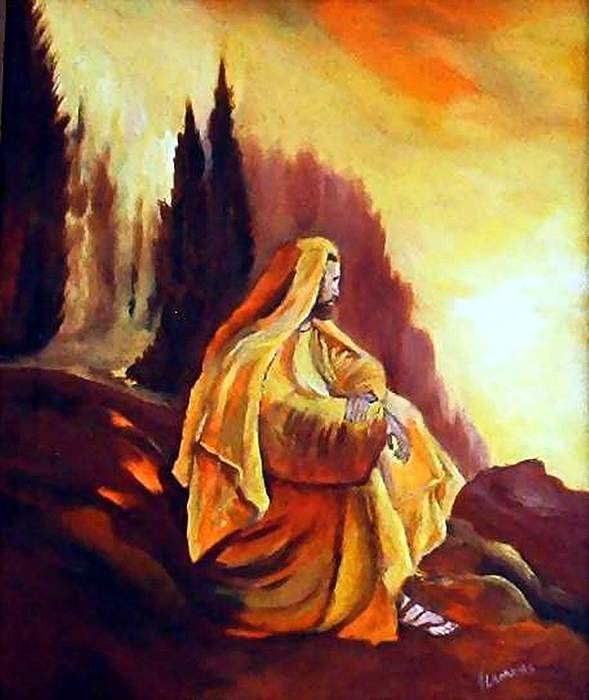 Figurative Painting - Jesus On The Mountain by Julie Lamons