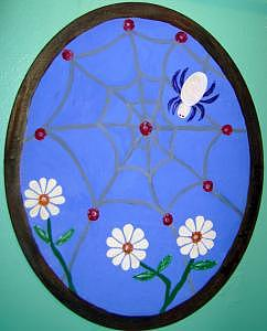 Jeweled Stained Glass Spiders Web Painting by Ginger Strivelli